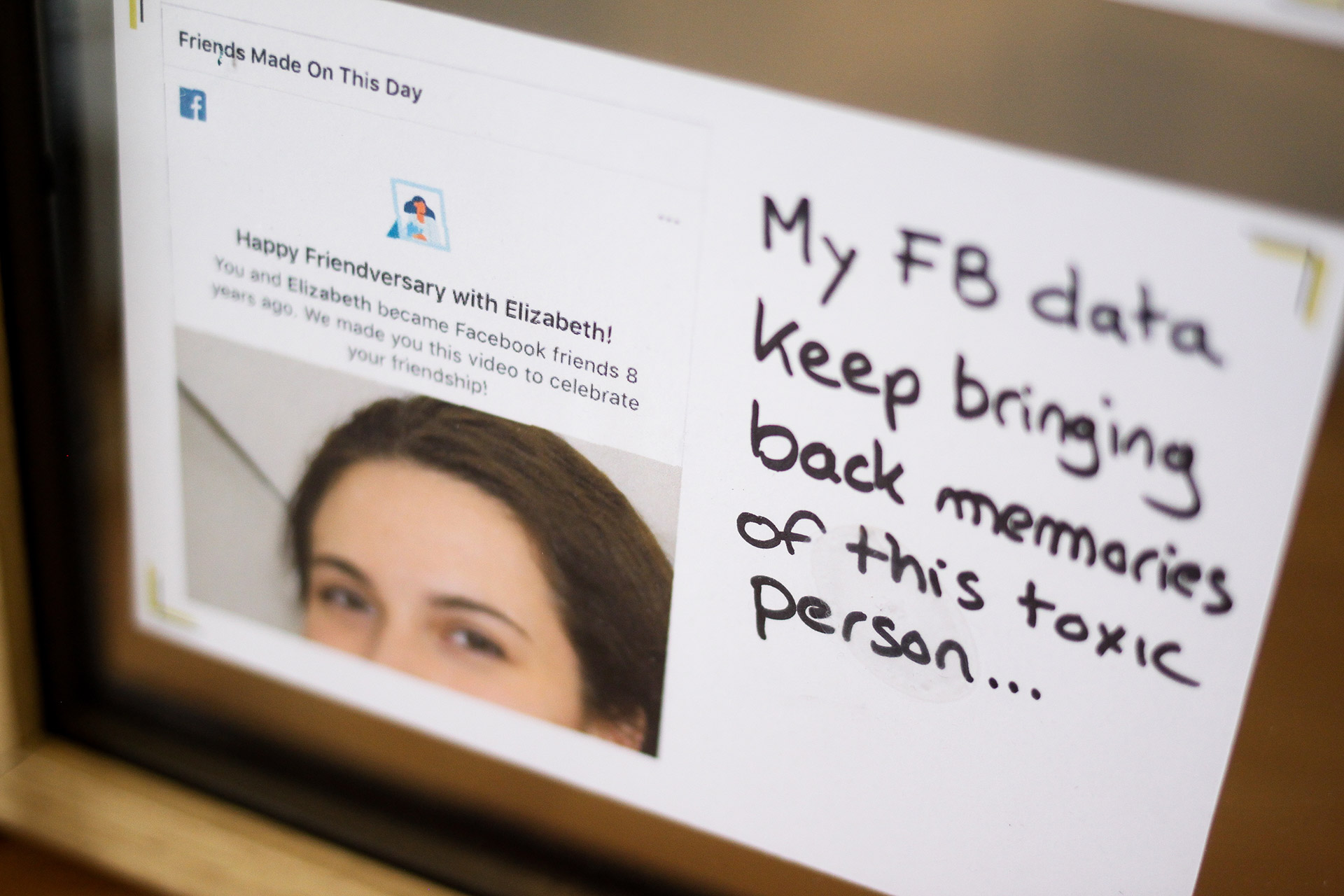 Another close-up on a card of the anti-memorial ranting against Facebook profile and data bringing back memory of a toxic person