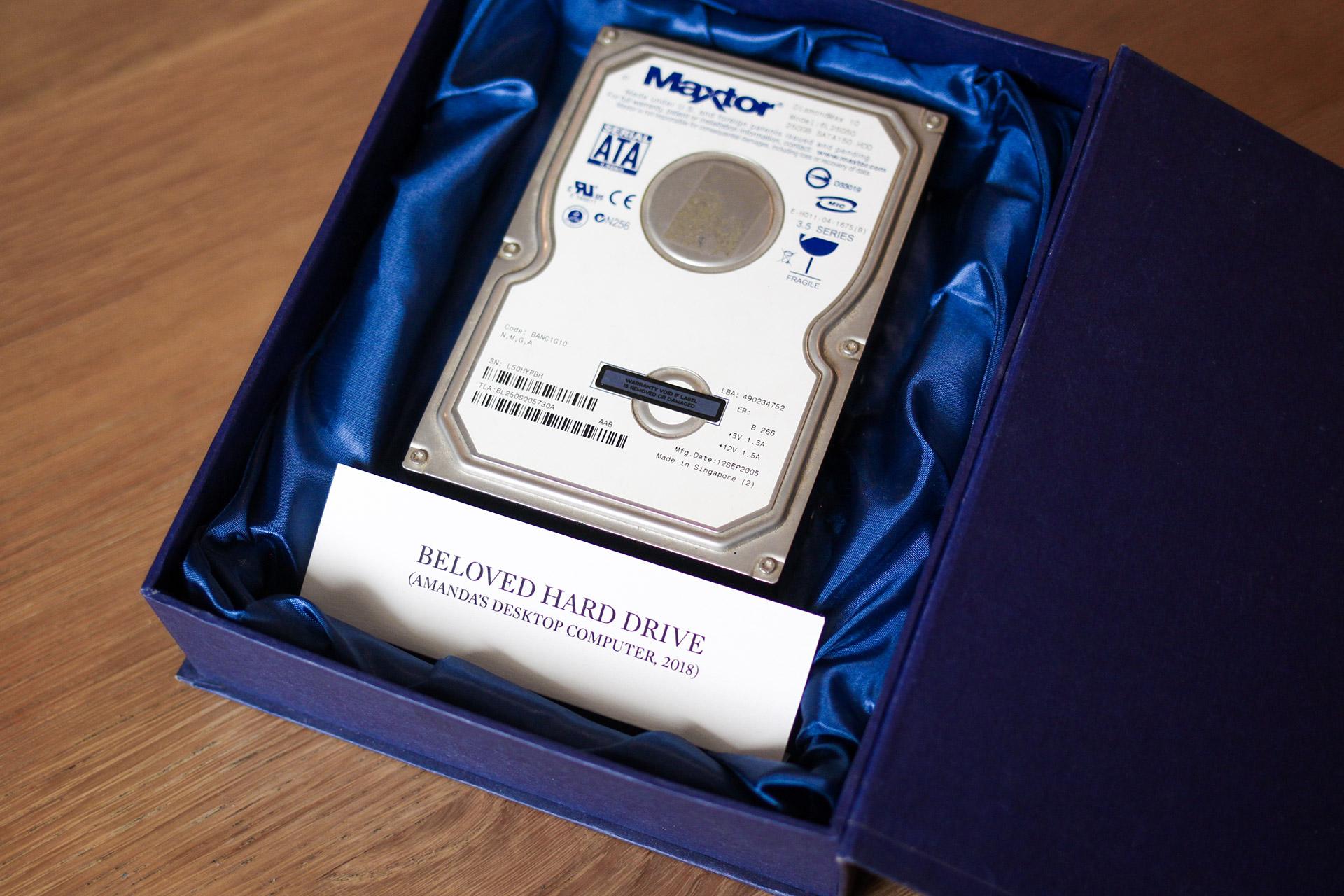 A hard drive in a coffer