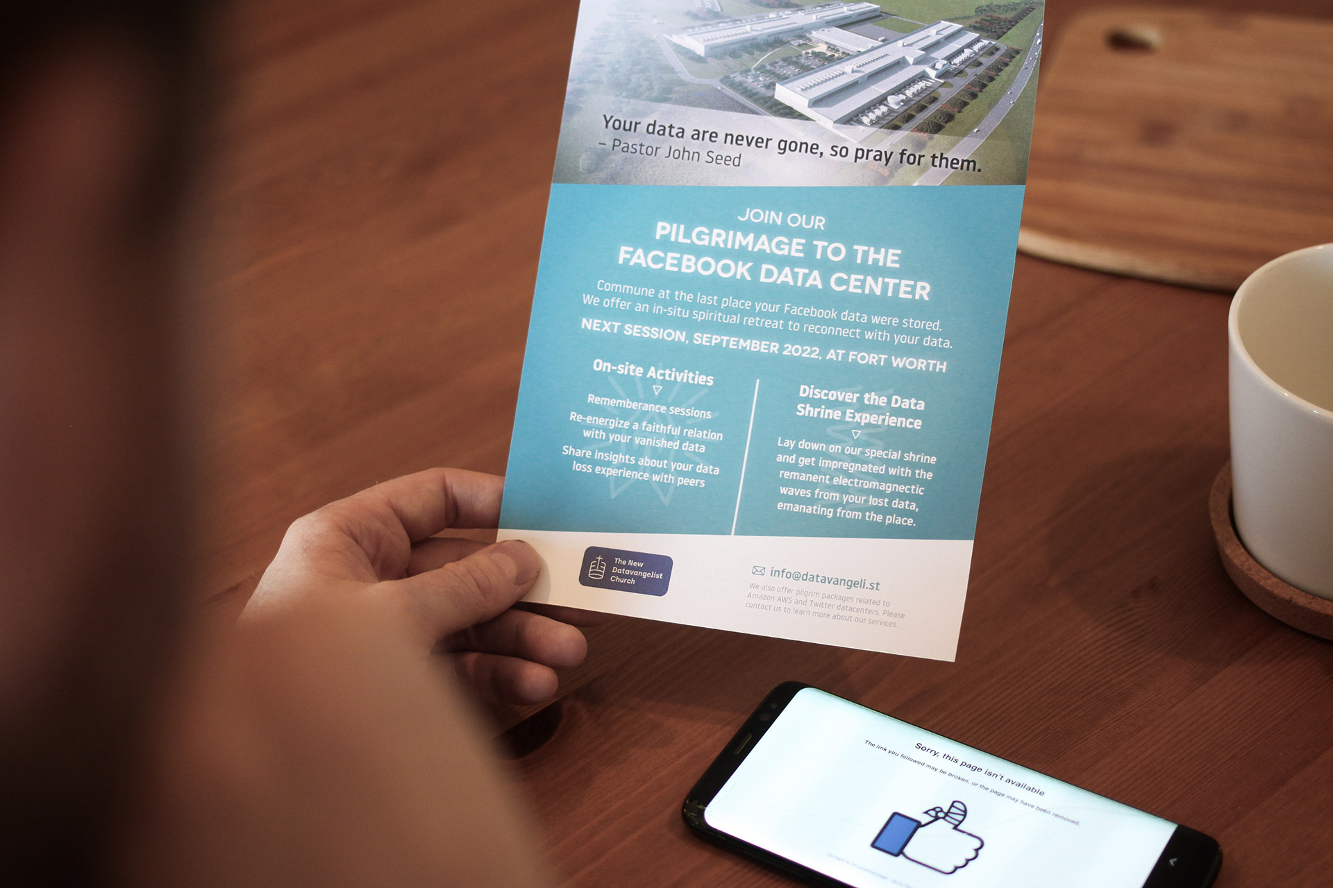 A flyer from the Datavangelist Chruch for a pilgrimage to Facebook data center