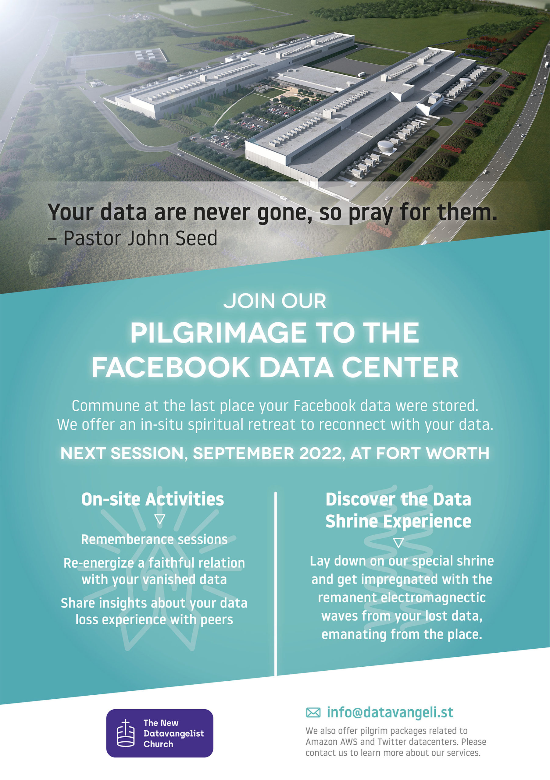 A flyer from the Datavangelist Chruch for a pilgrimage to a Facebook data center